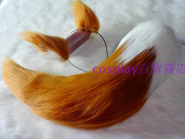 Anime COS FATE NEW CASTER Cos Tamamo A White Tail Light Brown Ear