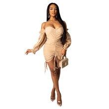 Felyn 2020 melhor qualidade design de moda vestido sólido fora do ombro ruched laço verão celebridade festa mini vestido