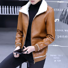 2019 new winter men's leather jacket Plus velvet locomotive PU leather Fur one Large size 8XL lambswool Fur collar men's jacket(China)