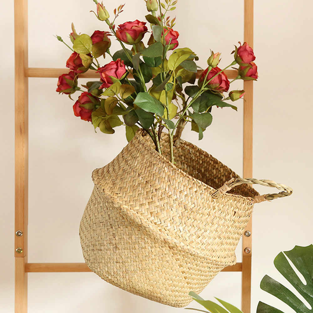 New Seagrass Wicker Basket Wicker Basket Flower Pot Folding Basket Dirty Basket Household Storage Garden Flower Bellied Bask #30