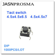 JASNPROSMA Tact switch 1000PCS/lot 4.5x4.5x6.5 4.5x4.5x7 DIP High quality 4.5*4.5*6.5 4.5*4.5*7