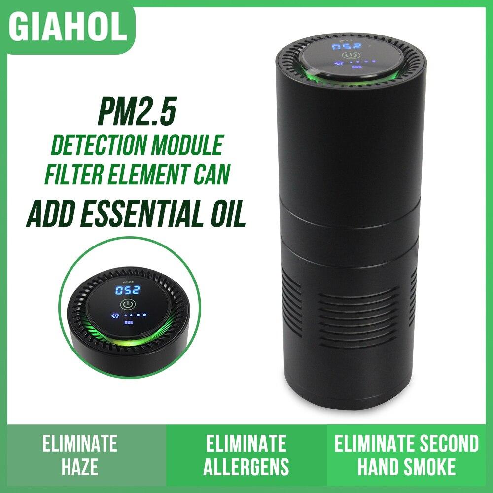 Mini coche difusor de aroma purificador de aire filtro HEPA purificador de aire de PM2.5 Sensor eliminar formaldehído polvo de la Oficina para el hogar auto suministros