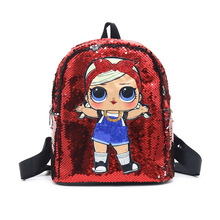 New Style Surprise Doll Bright Flashing Light Backpack Cartoon School Bag Fashion Travel Sequin Childrens Bags