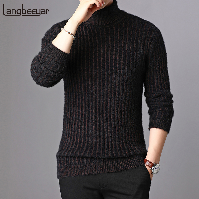 New Fashion Brand Sweater For Mens Pullovers Turtleneck Slim Fit Jumpers Knitred  Autumn Korean Style Thick Casual Men Clothes