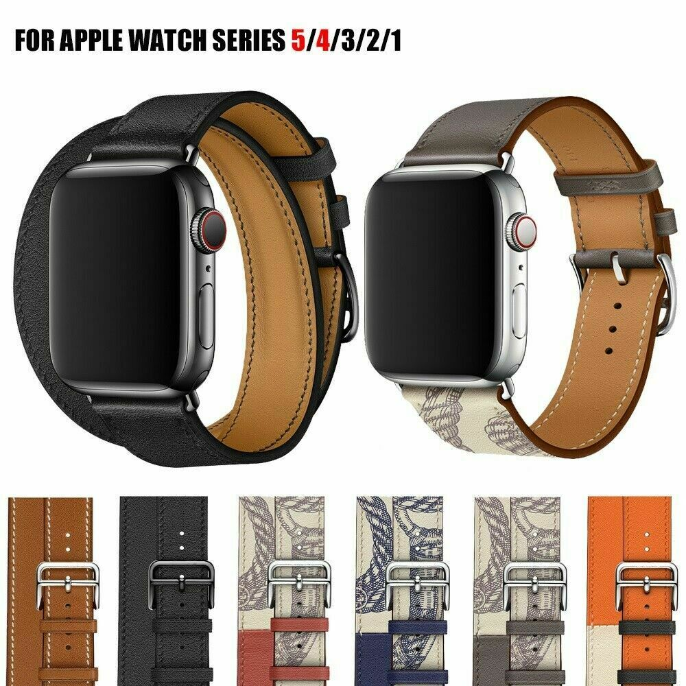 Leather Double Tour Loop Wristbands Bracelet Strap Mixed Colors Watch Band For Apple Watch Series 5/4/3/2 40MM/44MM/38/42