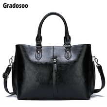 Gradosoo Oil Wax Leather Women Handbags Vintage Shoulder Crossbody Bags For Large Tote Bag New Messenger Female HMB631