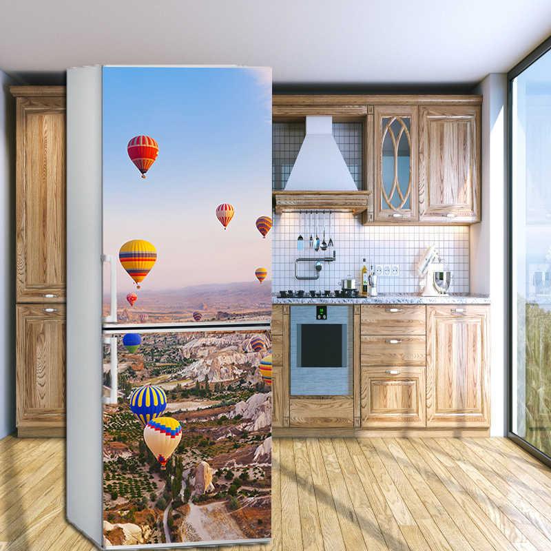 Khí Cầu Khí Nóng Trang Trí Nhà Áp Phích Tấm Phủ Tủ Lạnh Trang Trí Decal Cửa Tủ Lạnh Miếng Dán Tự Dính Chống Thấm Nước Aimant Frigo