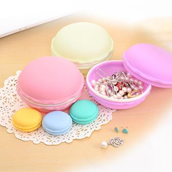 Cute Mini Macaron Storage Box Portable Pill Case Earrings Ring Jewelry Organizer Candy Case Earphone SD Card Storage Bag image