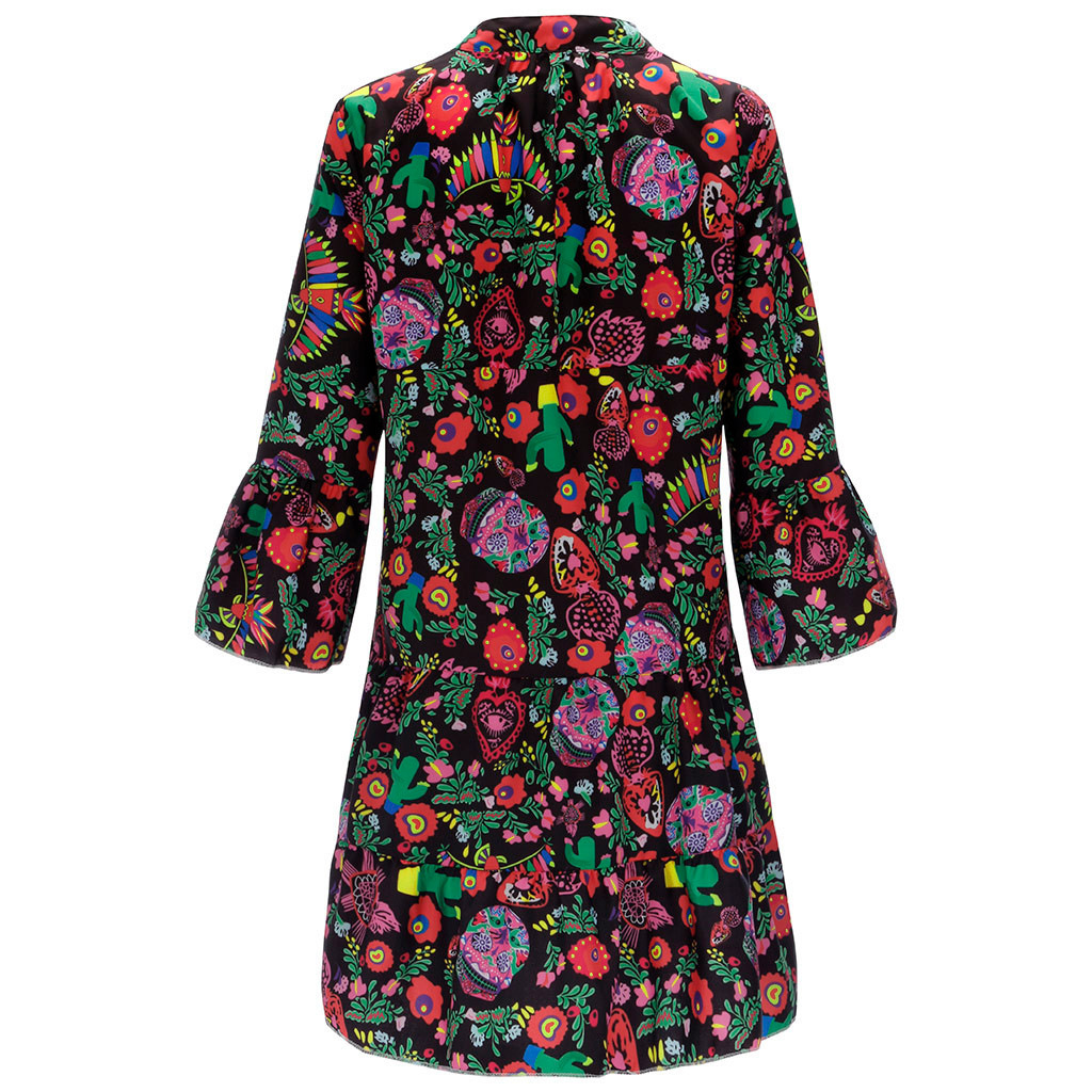 H9cbef9bf7deb4de68a022e818a0a4424A Spring Autumn Women Dress Plus Size 5XL Loose Print Long Sleeve V-Collar Button Party Dresses Casual Loose Women Dresses 2019