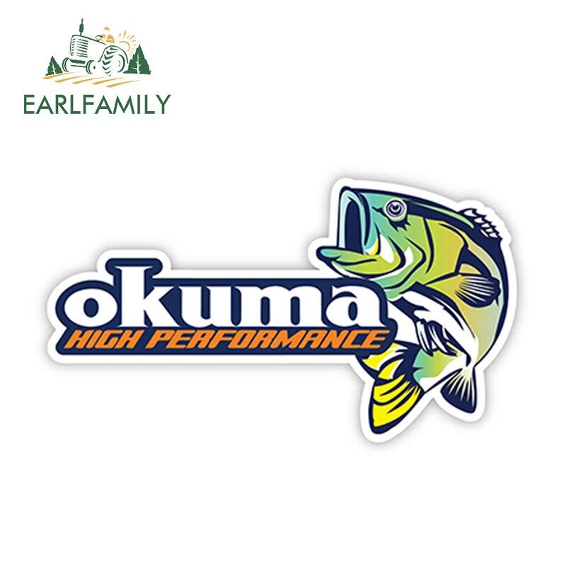 EARLFAMILY 13cm X 7.3cm OKUMA Sticker Decal Fishing Boat Rod Vinyl Bumper Truck Car Sea Bass Funny Car Stickers Auto Decals