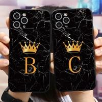 Funda de teléfono con letras de corona dorada y mármol negro, para iPhone 11, 12 Pro, X, XS, XR, Max, SE 2020, Mini 7, 8, 6, 6S Plus, 5, 5S, SE