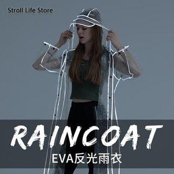 Adult Transparent Raincoat Women Thickened Clear Rain Coat EVA Outdoor Hiking Reflective Long Rain Poncho Jacket Impermeable