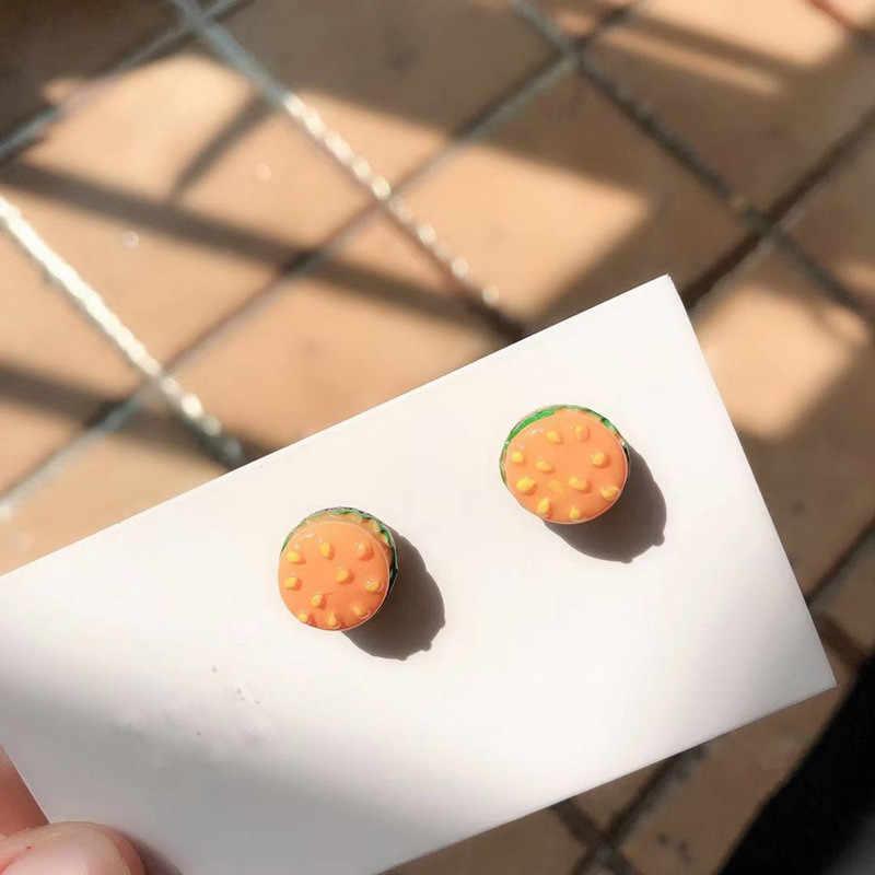 Creativo Divertente Sveglio Del Biscotto Orecchini Bella Waffle Zenzero Pane Uovo in camicia Crostata Chip Biscotti Torta di Orecchini Della Vite Prigioniera Dei Monili Del Fumetto