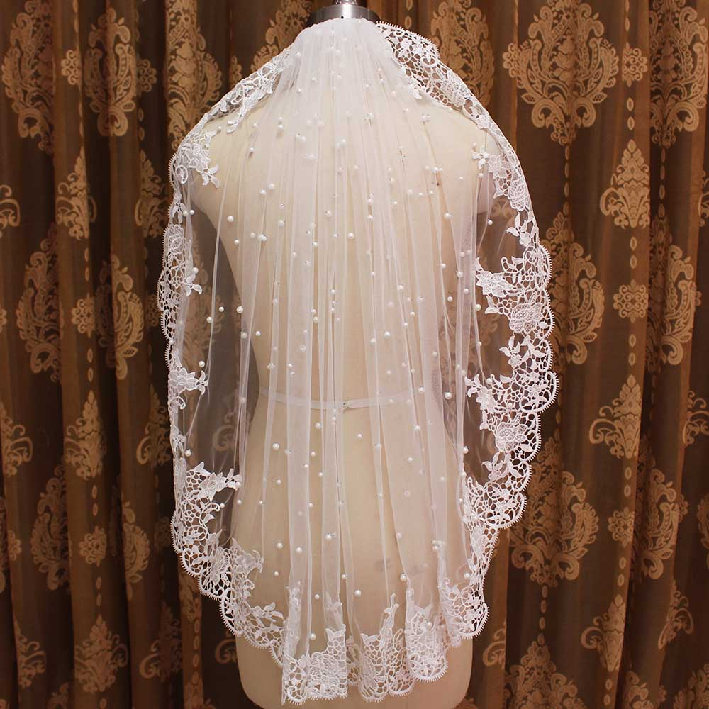 Lace Edge Pearls Wedding Veil Short Bridal Veil With Comb One Meter Short Veil With Pearls New Wedding Accessories