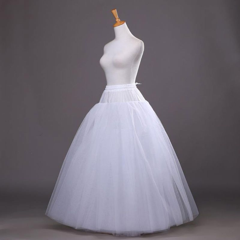 4-layer Hoop-free Long Style Half Skirt Petticoat Bridal Wedding Dress Lined Ladies Women Party Dresses Role-playing Lining CORD