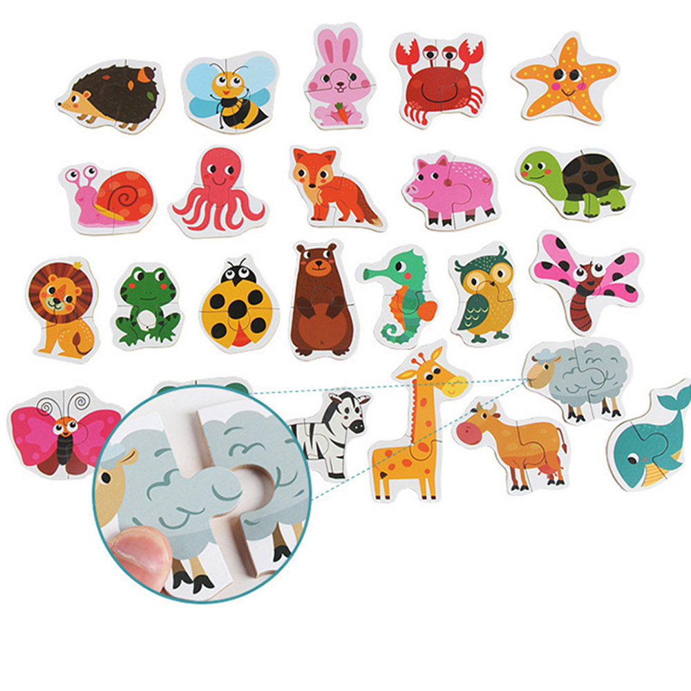 Puzzles matching puzzles toy Children Puzzle Games Early Learning Card for Kids Educational Toys animal/ vegetable/traffic Wood