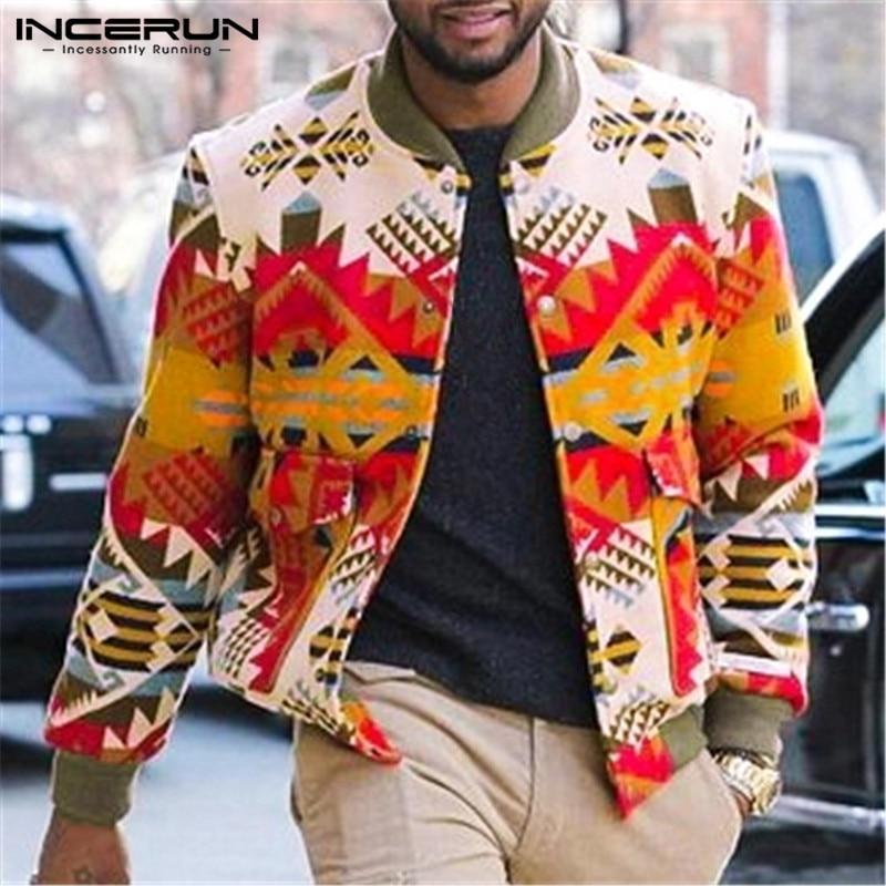 INCERUN Winter Fashion Men Jackets Casual Printed Long Sleeve Button Up Coats Streetwear Pockets Outerwear Men Windbreaker 2020