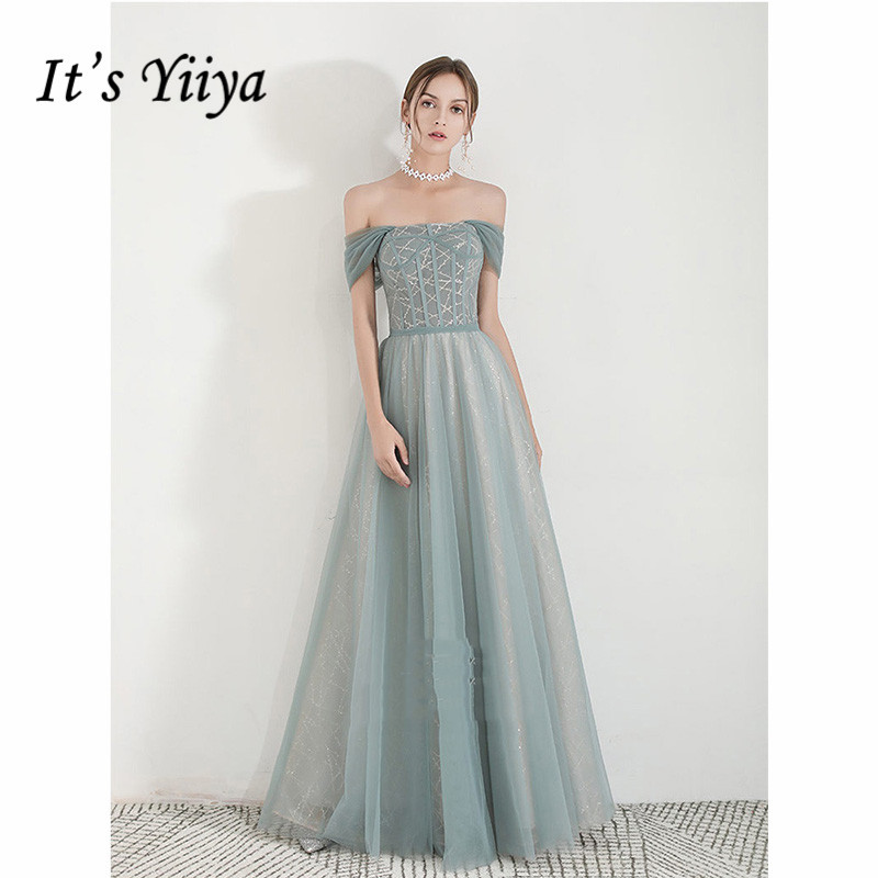 It's Yiiya Evening Dress Summer 2019 Plus Size Boat Neck Off Shoulder Robe De Soiree Short Sleeve Elegant Long Formal Gown E1091