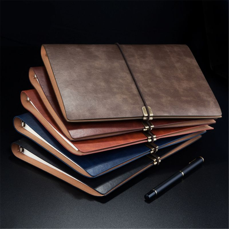 Pu Leather Note Book Cover Spiral Notebook A5 Planner Organizer Notebook Travel Journal Diary 6 Ring Binder Stationery