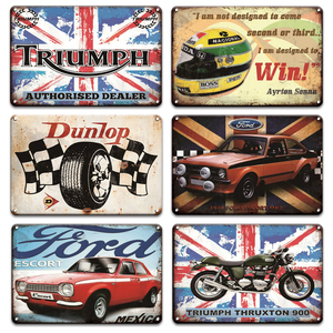Ford Car Metal Sign Garage Hoem Decor Vintage BSA Motorcycle Land Rover Parking Only Metal Poster Tin Signs Wall Art Plaques