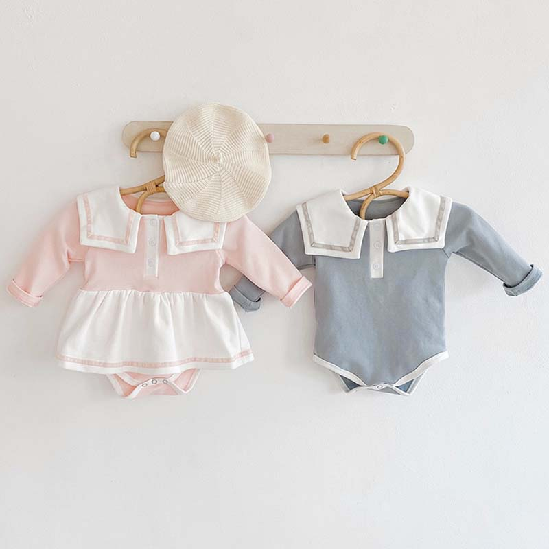 Autumn Baby Knit Bodysuit Long Sleeve Thickened Knit Sailor Collar Romper Princess Dress Crawling Clothes Little Girls Clothing