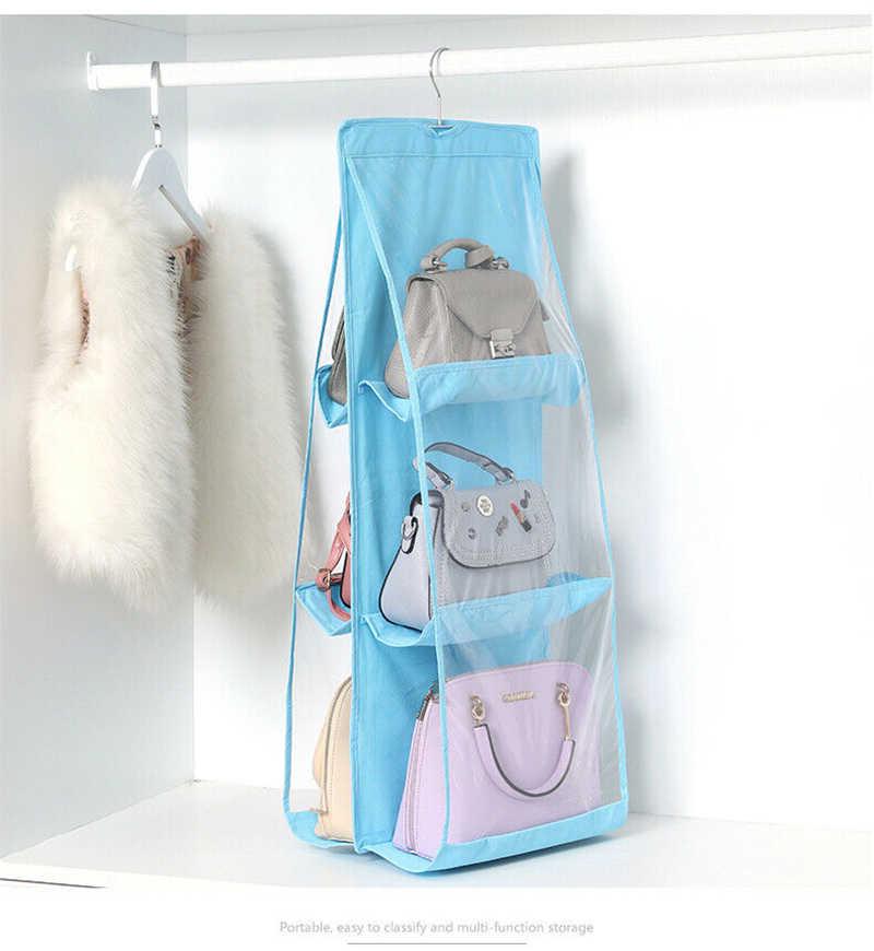 3 camadas dobrável saco de prateleira 6 bolso dobrável pendurado bolsa bolsa organizador porta de bolso diversos cabide de armazenamento armário cabide