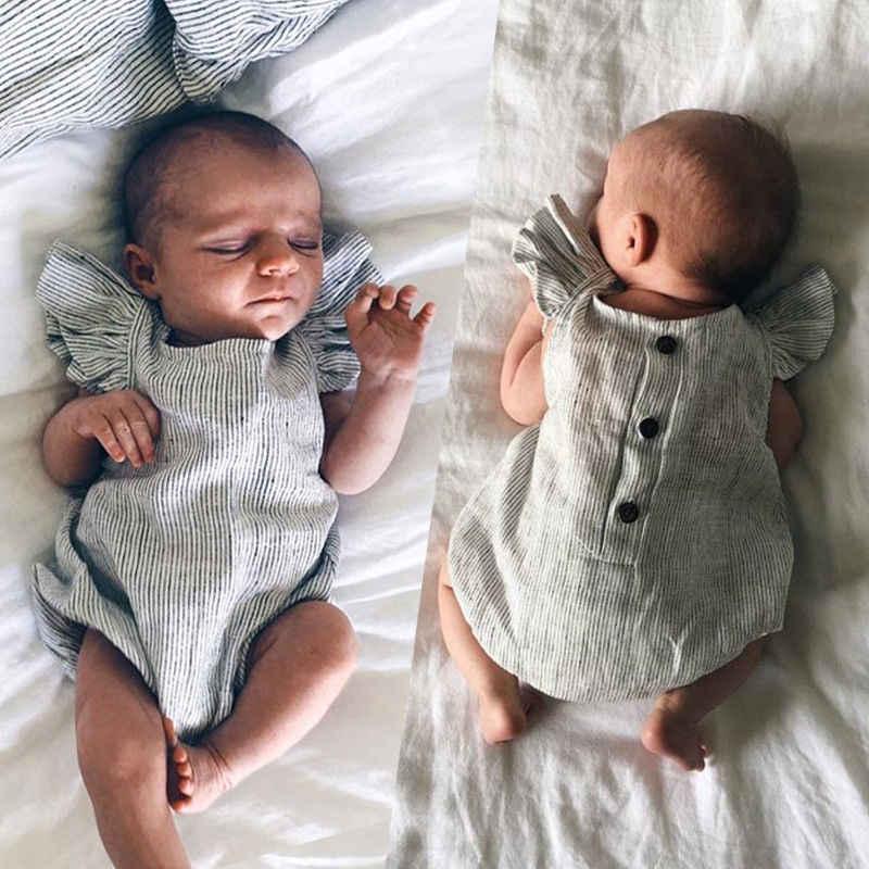 Ropa de bebé recién nacido, ropa de bebé, mono a rayas con volantes, trajes sin mangas, traje de verano 0-18M