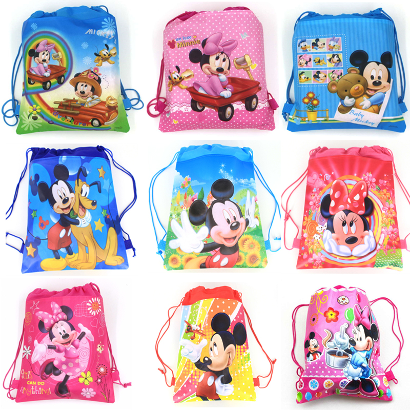 12pcs Disney Mickey Mouse Cartoon Non-woven Fabrics Drawstring Bags Minnie Mouse Christmas Candy Bag School Bag Storage Backpack