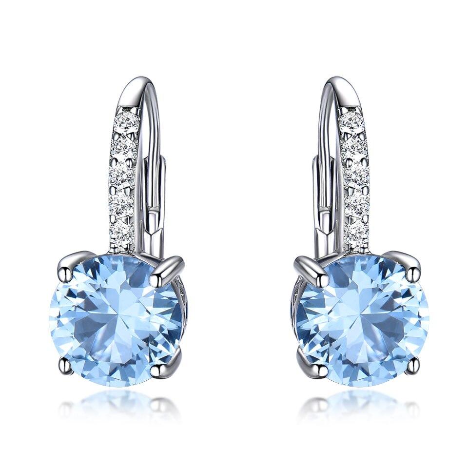 Image 4 - UMCHO Real 925 Sterling Silver Clip Earrings For Women Gemstone Sky Blue Topaz Female Earrings Round Wedding Valentine's Jewelry-in Earrings from Jewelry & Accessories