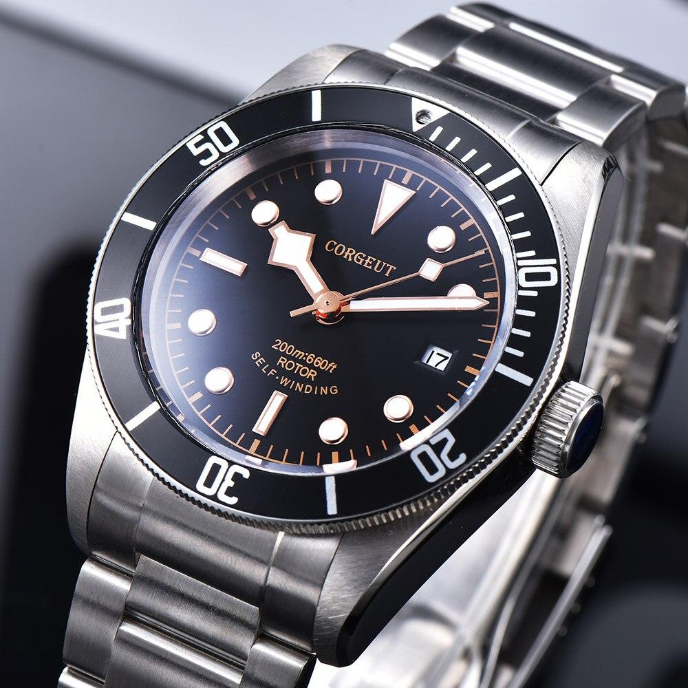 Corgeut Luxus Marke Schwarz Bay Männer Miyota Automatische Mechanische Uhr Sport Schwimmen Uhr Leder Mechanische Handgelenk Uhren