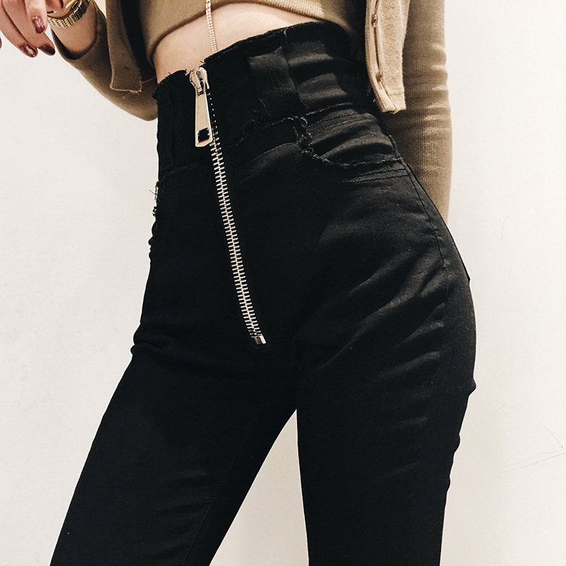 Online Celebrity Zipper Ultra High Waist Jeans Women's 2019 New Style Spring And Autumn Slimming Black Pencil Skinny Pants