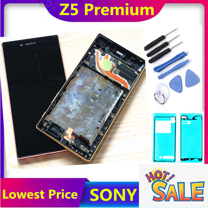 ERILLES ORIGINAL For <font><b>Sony</b></font> <font><b>Xperia</b></font> <font><b>Z5</b></font> Premium <font><b>E6853</b></font> E6883 E6833 LCD Display with Touch Screen Digitizer Assembly LCD with Frame image