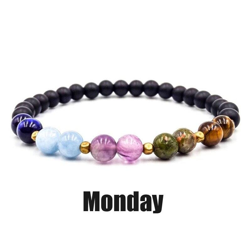 Natural Stone 7 Chakra Bracelets & Bangles Yoga Balance Beads Buddha Prayer Elastic Bracelet Men Pulseira Masculina