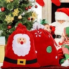 Large Sized Christmas Stockings Gift Holders Drawstring Treat Bag Holid