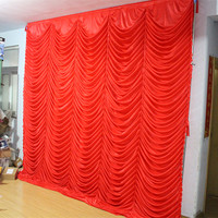 3x3m white ivory many colors ice silk wedding wave backdrops drapes curtain for party wedding decoration