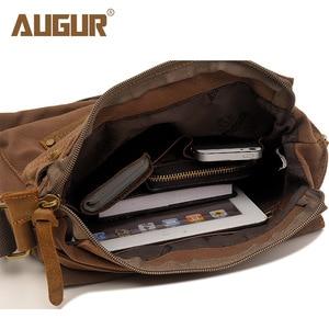 Image 5 - Augur 캔버스 빈티지 남자 가방 서류 가방 CrossBody 비즈니스 어깨 가방 신비한 메신저 도구 가방 핸드폰 포켓 Satchels