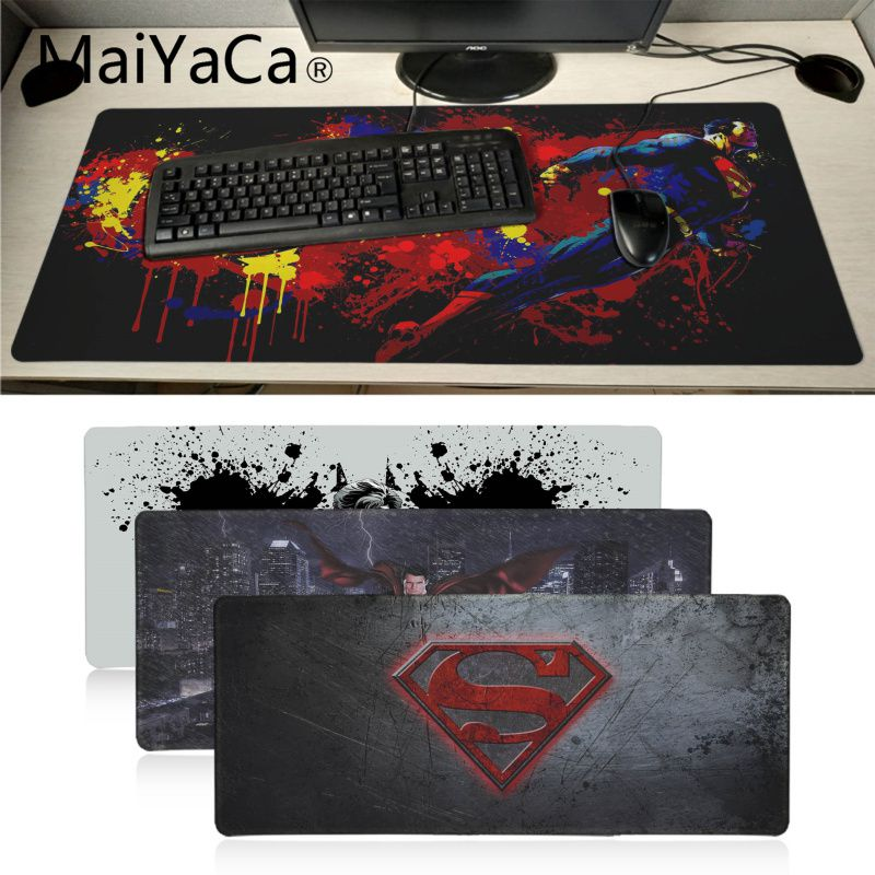 MaiYaCa New Designs Marvel Superman Customized Laptop Gaming Mouse Pad Locking Edge Rubber Large Mousepads