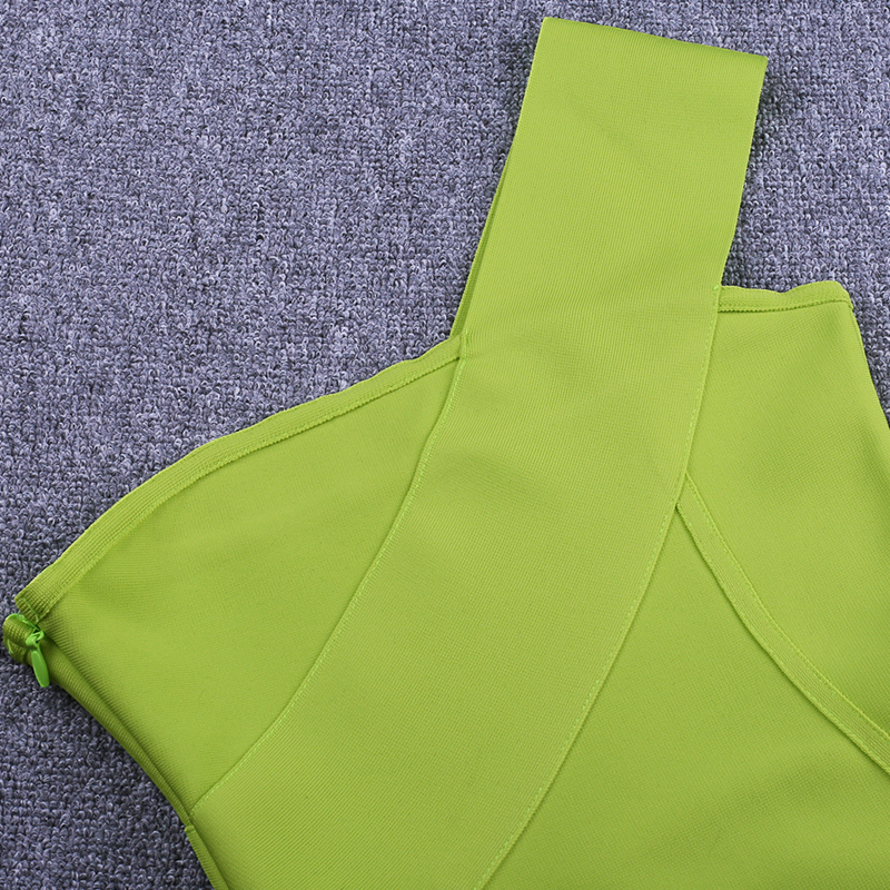 Image 5 - Ocstrade Celebrity Bandage Dress New Arrival 2019 Summer Women Neon Green Bandage Dress Bodycon One Shoulder Evening Party Dress-in Dresses from Women's Clothing