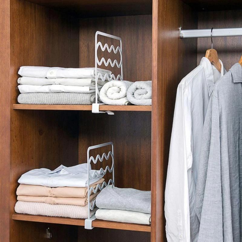 1pc Closet Divider Rack Kitchen Bathroom Storage Shelf Wardrobe Space Partition