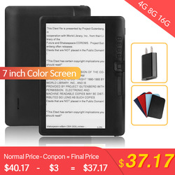 CLIATE 4G8G/16G LCD 7 inch Ebook reader Color screen smart with HD resolution digital E-book  Video MP3 music player