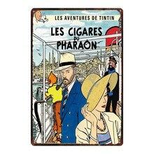 Tintin Cartoon Metal  Signs Plaque Vintage Wall Pub Kids Room Home Art Party Decor Iron Poster Cuadros DU-2966