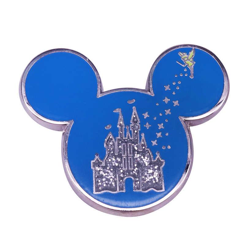 Mickey Castle Glitter Lapel Pin Kerajaan Sihir Tinkerbell Kembang Api Acara Lencana Fantasi Dekorasi