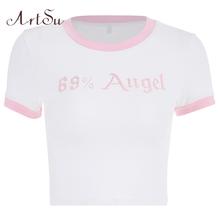 ArtSu śliczny różowy anioł list drukuj koszulka z krótkim rękawem damska koszulka Kawaii Femme z zabawnym nadrukiem krótki Top bawełniane koszulki nowy tanie tanio POLIESTER spandex COTTON tops Z KRÓTKIM RĘKAWEM SHORT REGULAR Sukno litera t shirt WOMEN NONE Na co dzień Z okrągłym kołnierzykiem