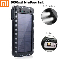 Xiaomi Hot 30000mAh Solar Power Bank Waterproof Dustproof Dual USB Output Double LED Flashlight Lighter with Lithium Battery