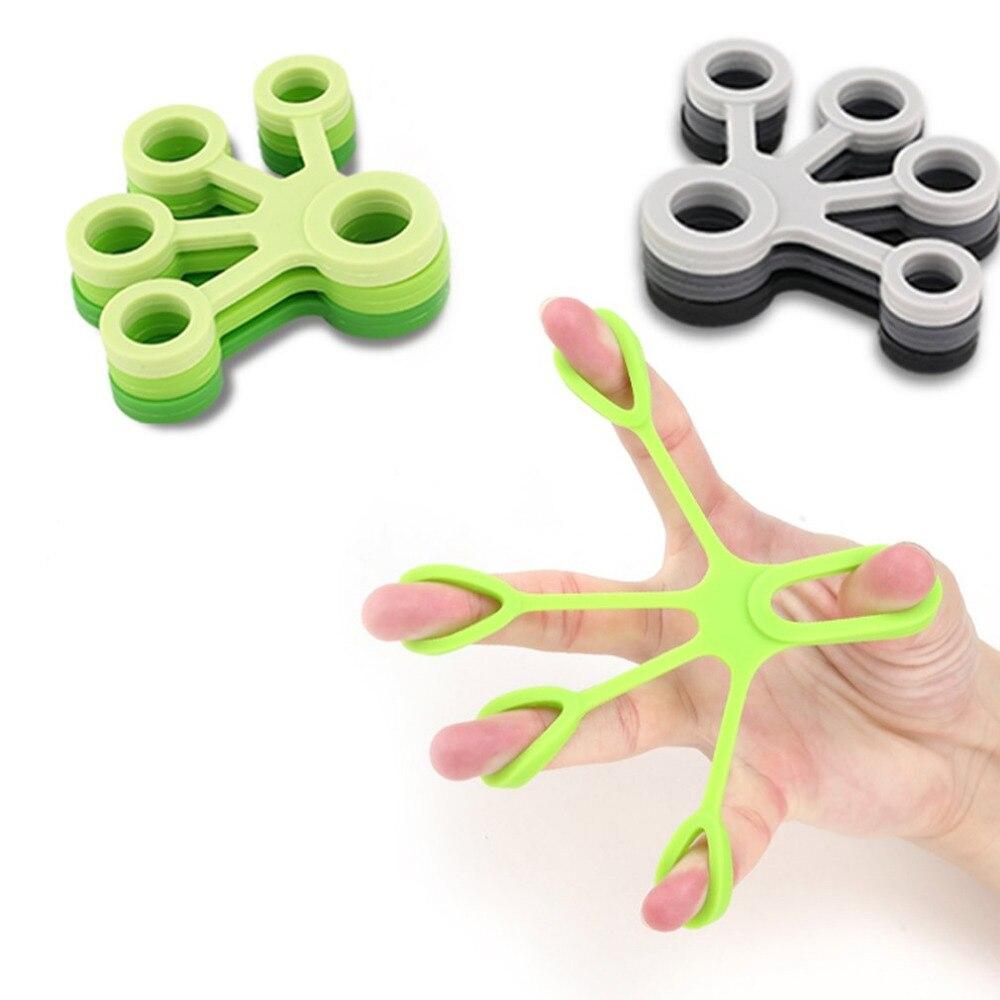 Galleria fotografica stregth Silicone Finger Gripper Strength Trainer Resistance Band Hand Grip Wrist Yoga Stretcher Finger Expander Exercise