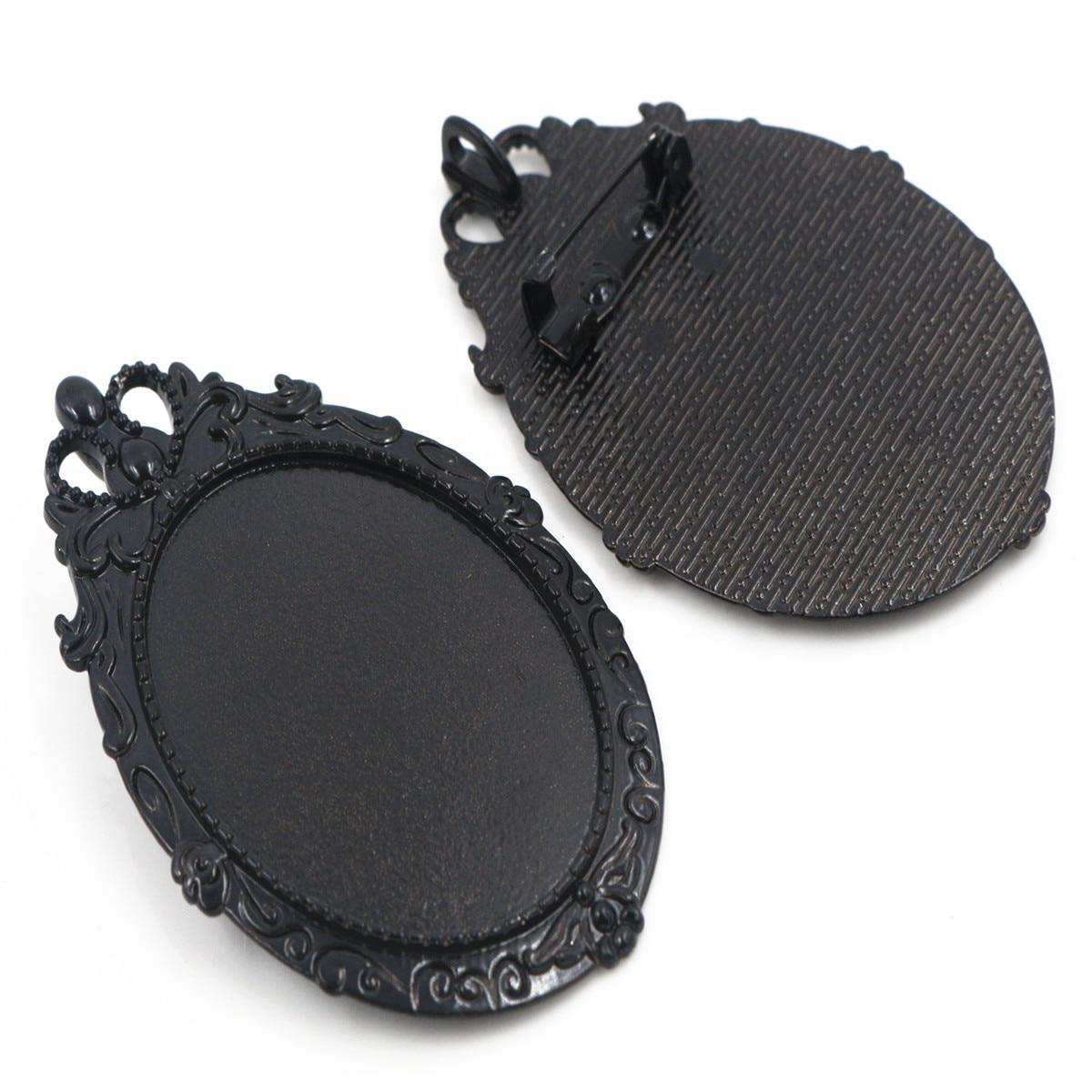 New Fashion 5pcs 30x40mm Inner Size Black Plated Pin Brooch European Retro Baroque Style Base Setting Pendant (B3-04)