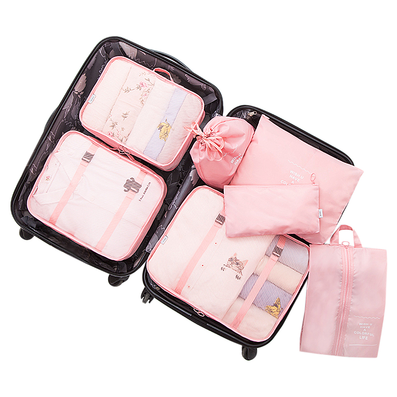 7pcs/set Portable Travel Bag Sets Clothes Underwear Shoes Toiletry Make Up Electronics Overnight Weekend Organizer Accessories