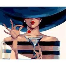 Картина по номерам девушка рисование вручную на холсте искусство