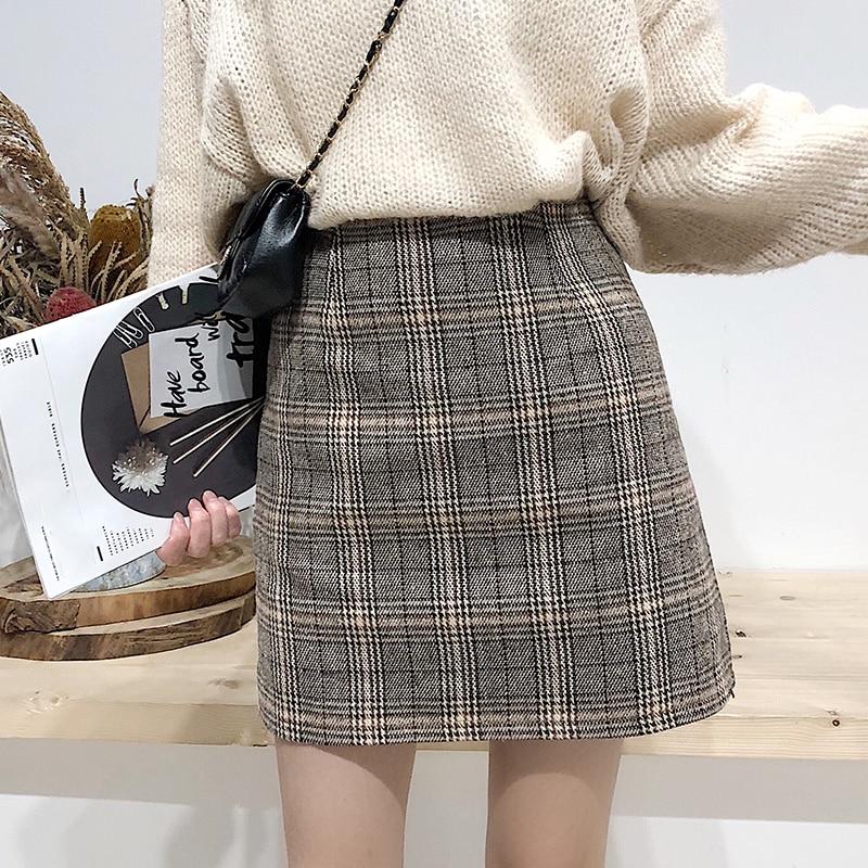 College Wind Skirt Autumn And Winter Women's New Students Retro Plaid A Word Short Skirt High Waist Bag Hip Step Skirt