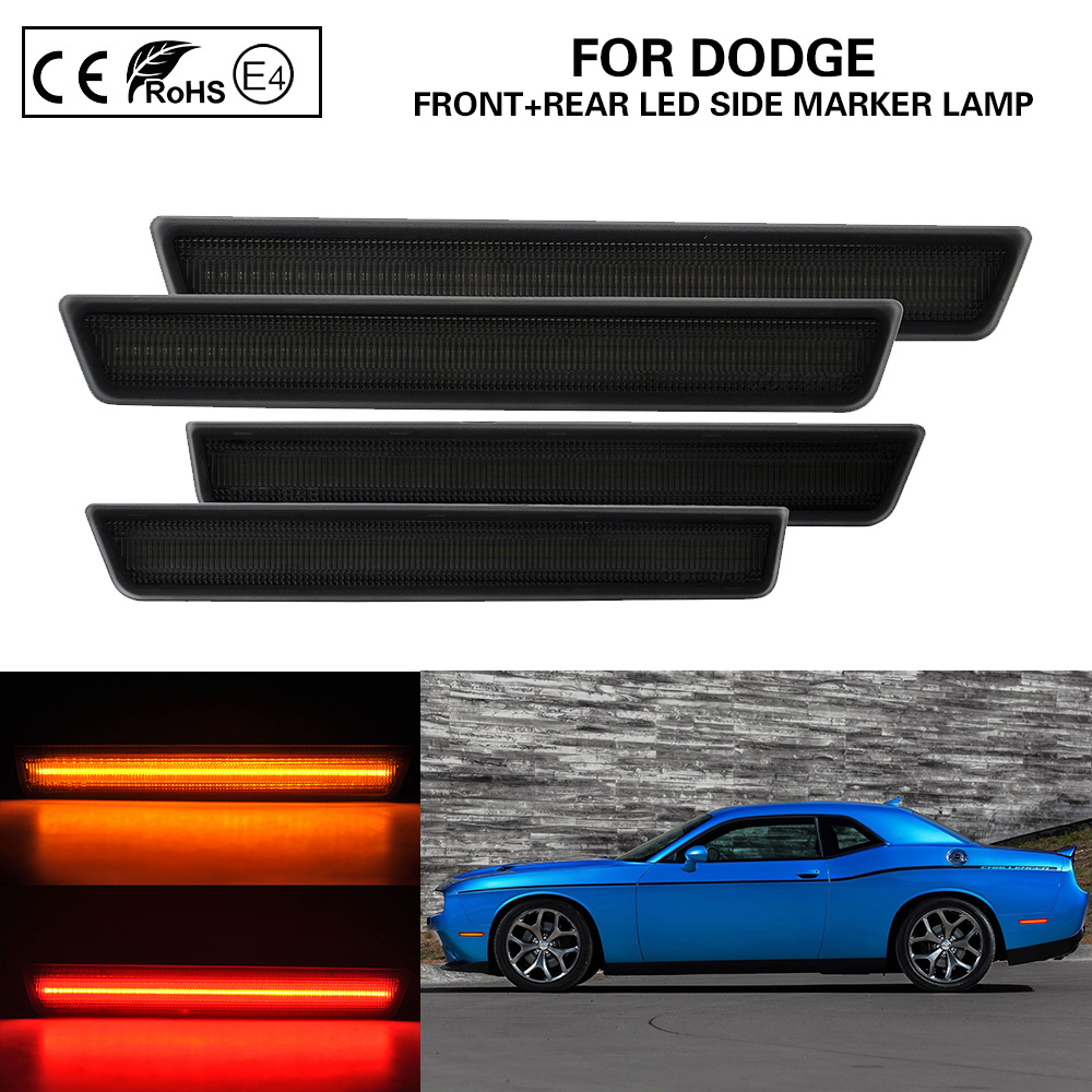 4PCS Smoked lens Front+Rear LED Side Marker Light Lamp for Dodge Challenger 2015-2019 Amber/Red US Version